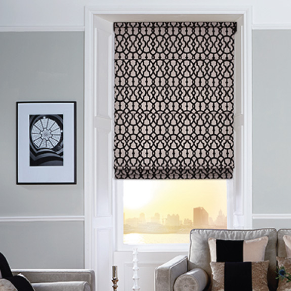 black and white decorative Roman blinds