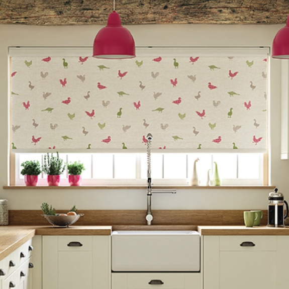 Roller Blinds with farmyard animal silhouettes in grey pink and green
