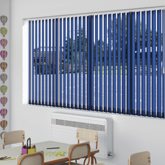 Window with blue vertical blinds